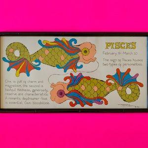 Vintage 1967 Pisces zodiac framed lithograph art